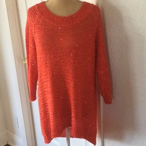 Eci - Red Sparkling scattered Sequin Knit Top
